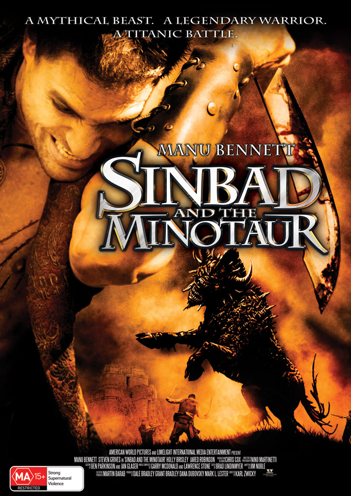 Sinbad and the Minotaur Film Poster --A Mythical Beast. ALegendary Warrior. A Titanic Battle.