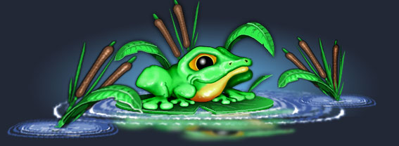 Cartoon frog on a lily-pad
