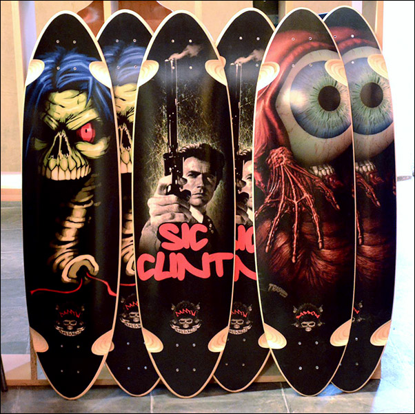 3 samples of Daddow Skateboard Deck art by Arkhamhaus
