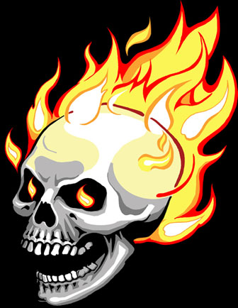 Flaming Skull sticker