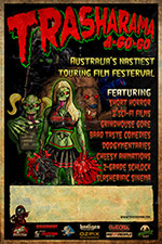 2015 Trasharama agogo film festival poster featuring Sindee the undead cheerleader