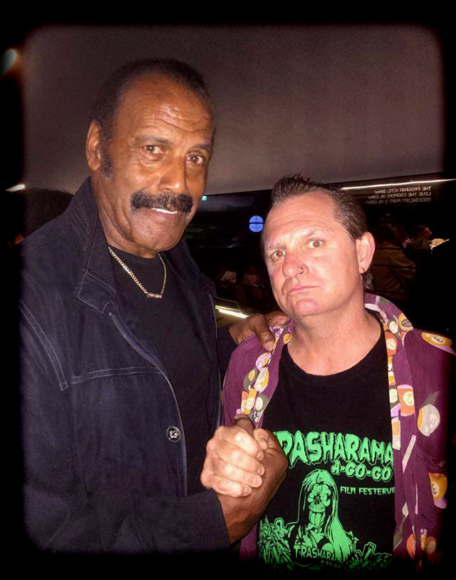 Dick Dale meets the awesomeness that is Fred Williamson while both appeared at Monsterfest 2015