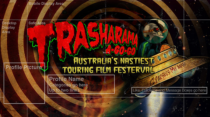 Facebook Header Art for the Trasharama agogo short film festival
