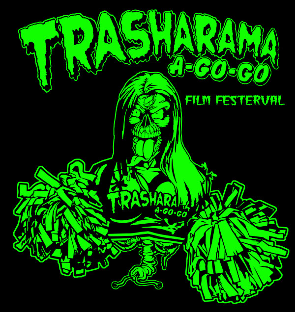 Single colour Trasharama film festival T-shirt Design 2014.