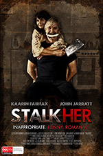 Poster designed as a distortion of couples photographic portraiture for the gender battle feature film: Stalkher (2014)
