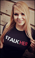 Stalkher promotional T-shirt design now with blonde hair and estrogen