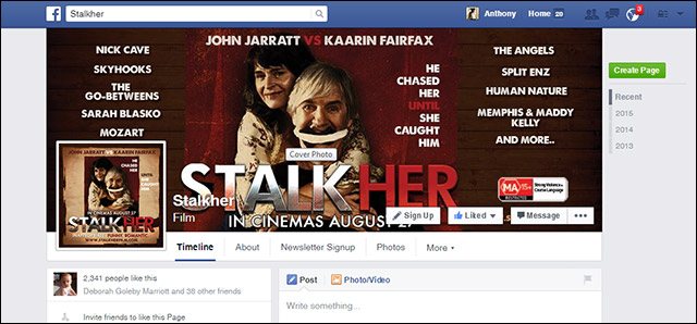 Facebook banner for feature film Stalkher starring John jarratt and Kaarin Fairfax --the Stalkher soundtrack features Nick Cave, the Angels, Skyhooks, the go-betweens, Sarah Blasko, Amadeus Mozart, Split Enz, Human Nature, Memphis and Maddy Kelly